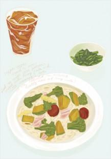 still pasta, ice tea and green beans