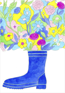 flowers in a boot