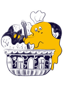 caramel ghost house logo