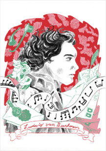 a portrait of Ludwig van Beethoven